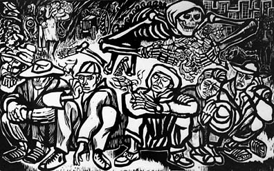 Braceros waiting for contracts to go to the u s linocut 1972 by